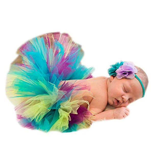 Fashion Newborn Girls Baby Handmade Outfits Photography Props Tutu with Flower Headdress