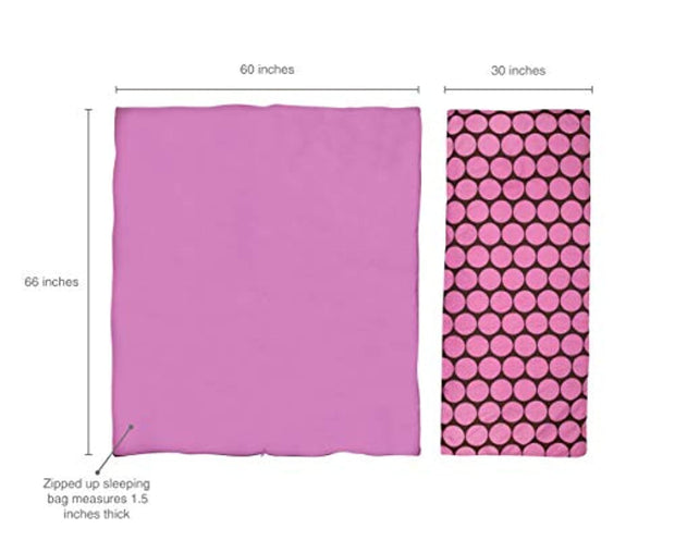 PETW Kids Sleeping Bags for Boys and Girls, Perfect Size for Parties, Camping, and Overnight Travel, Sleeping Bag, Cotton Blend Materials, BPA-free, Measures 66 x 1. 5 x 30 Inches (Big Dot Pink)