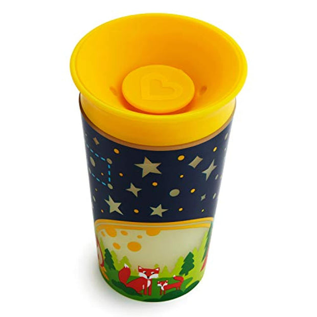 PETW Miracle 360 Degree Glow in The Dark Sippy Cup, 9 Oz, Camping, Yellow