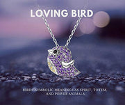Loving Bird Pendant Necklace Sterling Silver