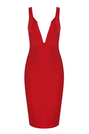 Deep Plunge Backless Bandage Dress Knee-Length