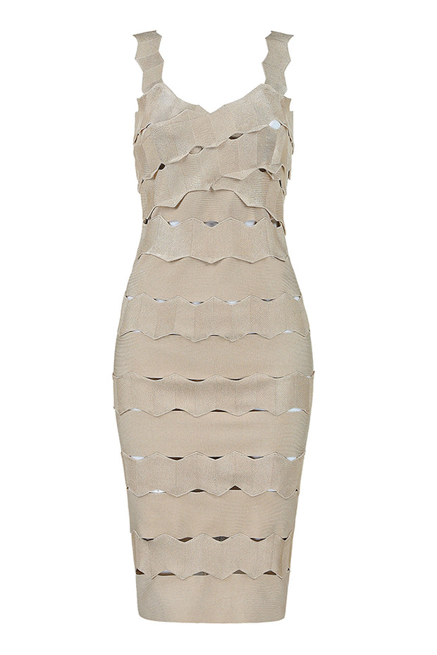Strap Crisscross Bandage Bodycon Midi Dress