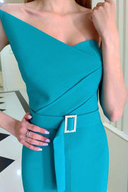 Asymmetrical Neckline Front Slit Maxi Dress
