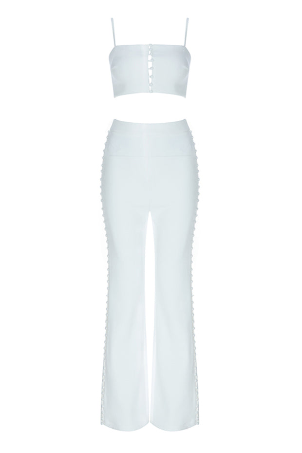 Solid White Strap Tops & Full Length Pants Two-Piece Sets