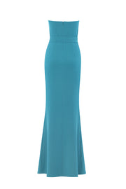 Asymmetric Neckline Front Slit Maxi Dress