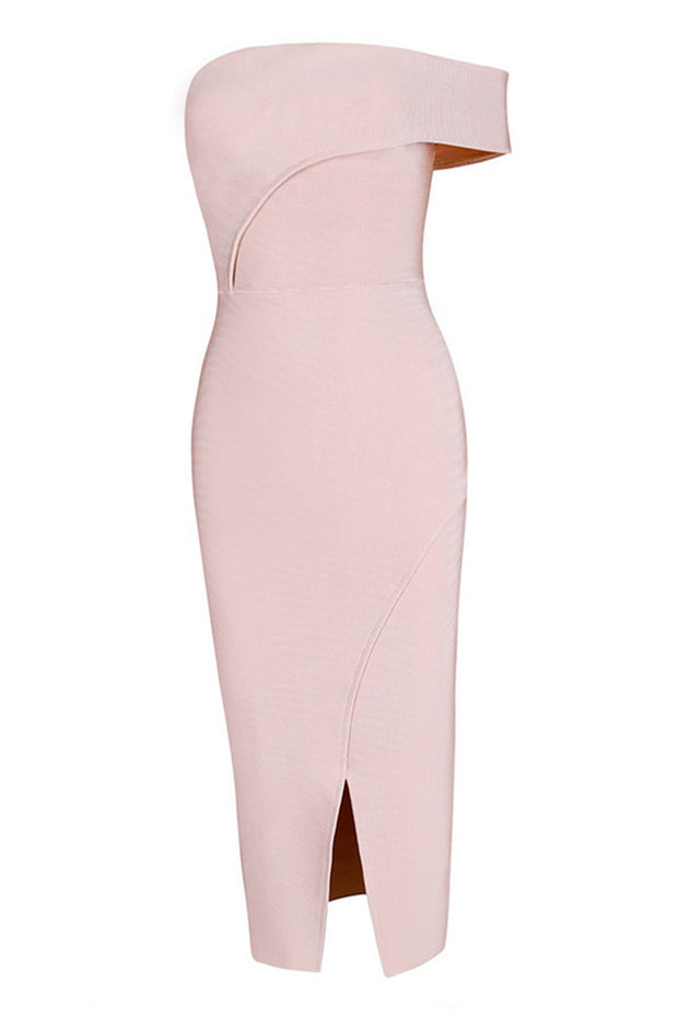 Asymmetrical Bardot Slit Bandage Midi Dress