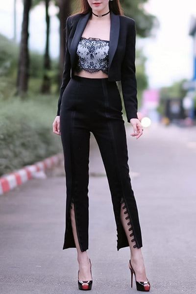 Black Long Sleeve Crop Jacket Button Flare Leg Pant Fashion Set