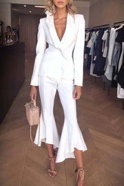 White Deep V Ruffled Top Tulip-Style Trousers Slim Fit Set