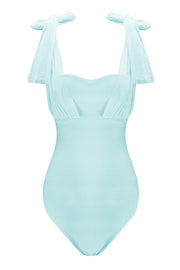 Sweetheart Strap Mesh Bandage One-Piece Swimsuit