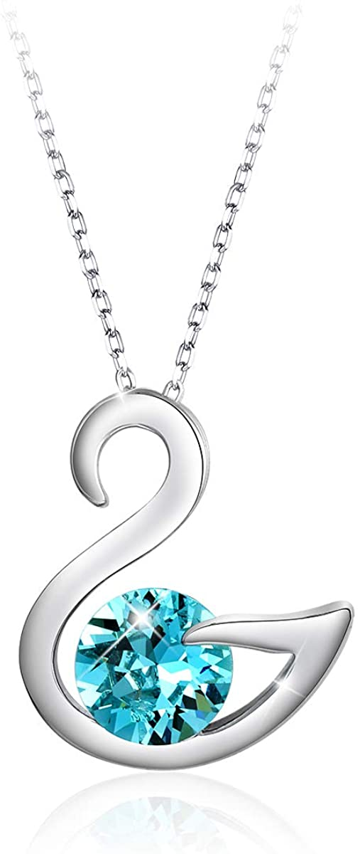 PETW 18K White/Rose Gold Plated Necklaces for Women Valentines Jewelry Gifts Heart Pendants Embellished with Crystals from Swarovski Necklace with Gift Box