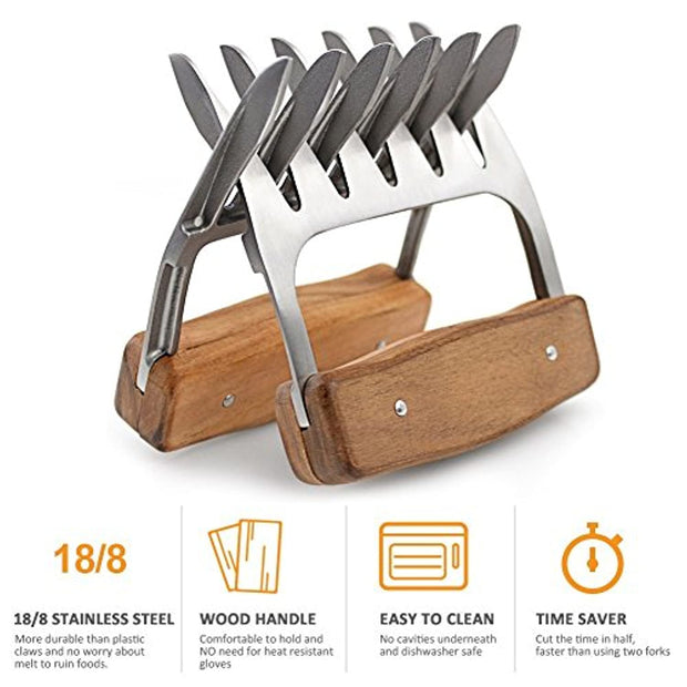 PETW Metal Meat Claws, 1Easylife 18/8 Stainless Steel Meat Forks with Wooden Handle, Best Meat Claws for Shredding, Pulling, Handing, Lifting & Serving Pork, Turkey, Chicken, Brisket