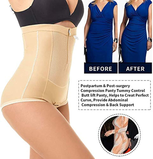 PETW Postpartum Belly Wrap C Section Panty Belly Band Abdominal Compression Corset Girdle Shorts with Zipper