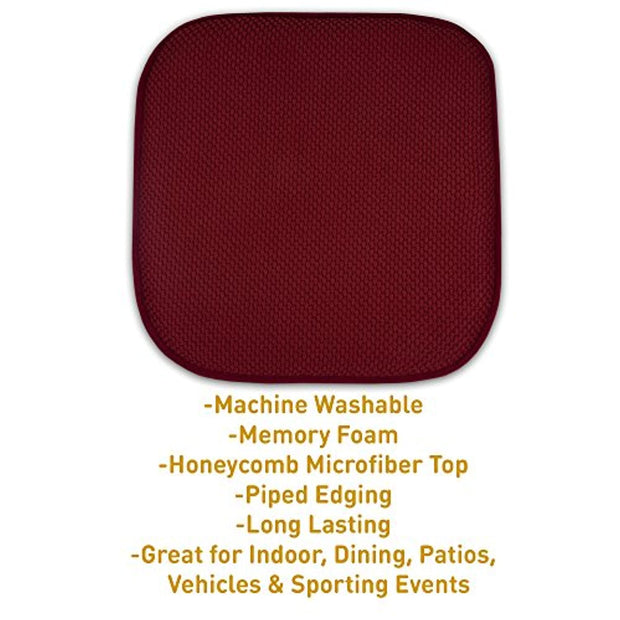 "PETW 4 Pack Memory Foam Honeycomb Nonslip Back 16"" x16"" Chair/Seat Cushion Pad"