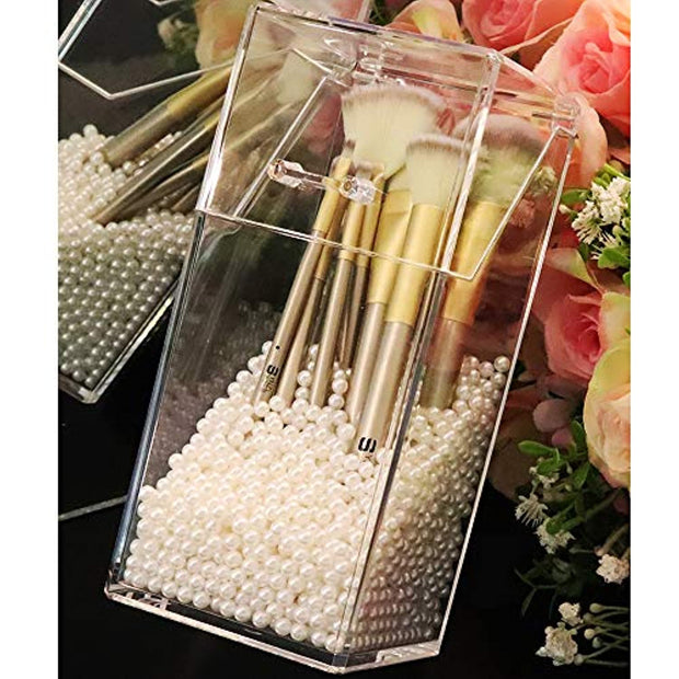 Makeup Beads for Brushes,PETW Art Faux Pearls 1500 pcs for Lipstick, Mascara, Eyeliner,Makeup Brush Holder Organizer, Highlight Plastic Round Pearls,Diameter 8mm