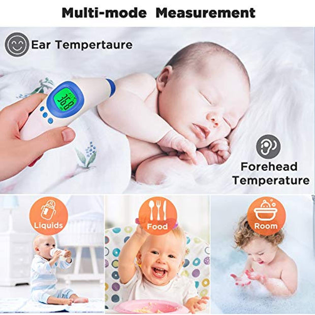 PETW Forehead Thermometer Gun for Adults and Children,Non-Contact Digital Infrared Thermometer with LCD Backlight Display,High Temperature Alarm