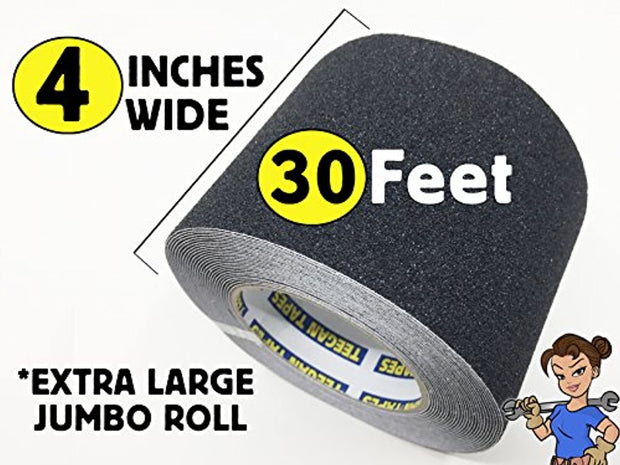 PETW Tapes Heavy Duty Anti Slip Traction Tape, 4 Inch x 30 Foot Grip Tape Grit Non Slip, for Outdoor/Indoor, Non Skid Treads, High Traction Friction Abrasive Adhesive Stairs Step - Black