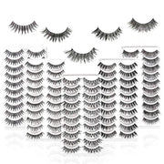PETW 50 Pairs 5 Styles False eyelashes set professional 100% Handmade natural, glamorous, demi wispies, wispies, volume multipacks, cotton band, 10 Pairs Eyes Lashes Each Style