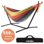 PETW  Hammock with Stand 2 Person, 550 Pound Capacity Portable for Backyard, Camping Indoor Outdoor Use, Adjustable Steel Hammock Stand and Extra-Large Cotton Hammock, (Rainbow Color)