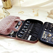 PETW Velvet Hanging Jewelry Organizer Roll with Hook Foldable Travel Jewelry Case for Rings, Necklaces, Bracelets, Earrings, Pink