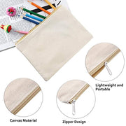 PETW 10 Pieces Cosmetic Bag Multipurpose Makeup Bag with Zipper Cotton Canvas Bag Travel Toiletry Pouch DIY Craft Bag Pencil Bag (L, Beige)