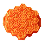PETW Bee Honeycomb Cake Mold Mould Soap Mold Silicone Flexible Chocolate Mold (Orange)