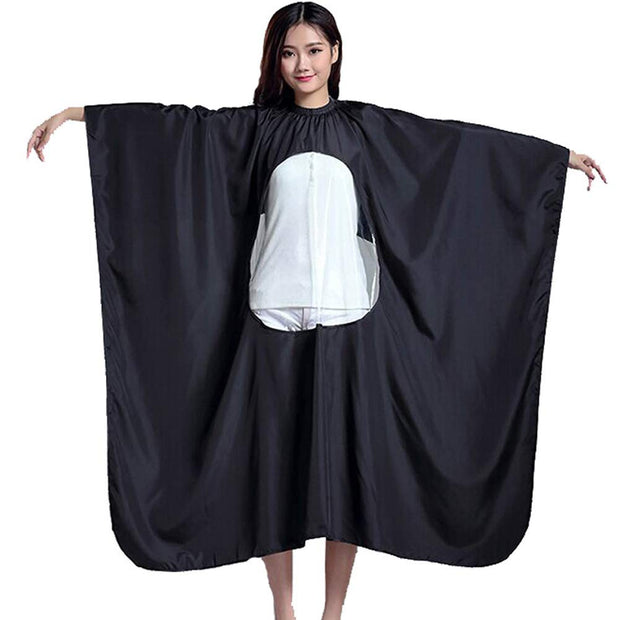 PETW Waterproof Salon Hair Cutting Cape Home Hairdressing Cloth Cape Gown Transparent with Viewing Window (White)
