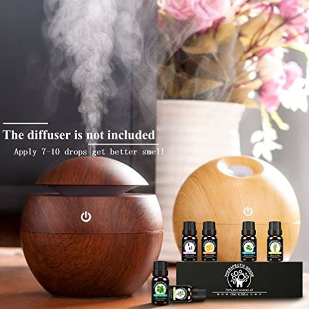 PETW Essential Oil Set Top 6 100% Pure Premium Therapeutic Grade Essential Oils for Diffuser, Humidifier, Vaporizer, Massage, Home Care, Skin & Hair Care