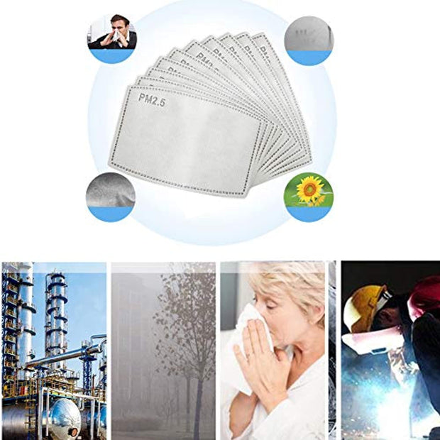 PETW PM Activated Carbon Filter Anti Particle Protective, Washable Cotton for Adult Outdoor Activities (50PCS)