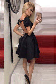 Sexy Halter Backless  Short Sleeve Mini A Line Dress