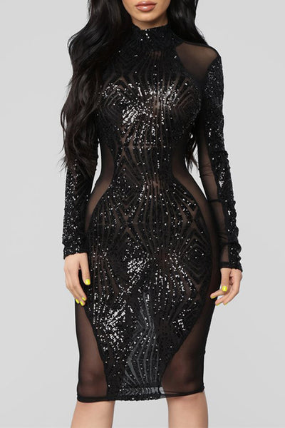 Long Sleeve Mesh Hollow Out Dress-Black