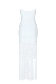 Bandeau Fringe Midi Bandage Dress White
