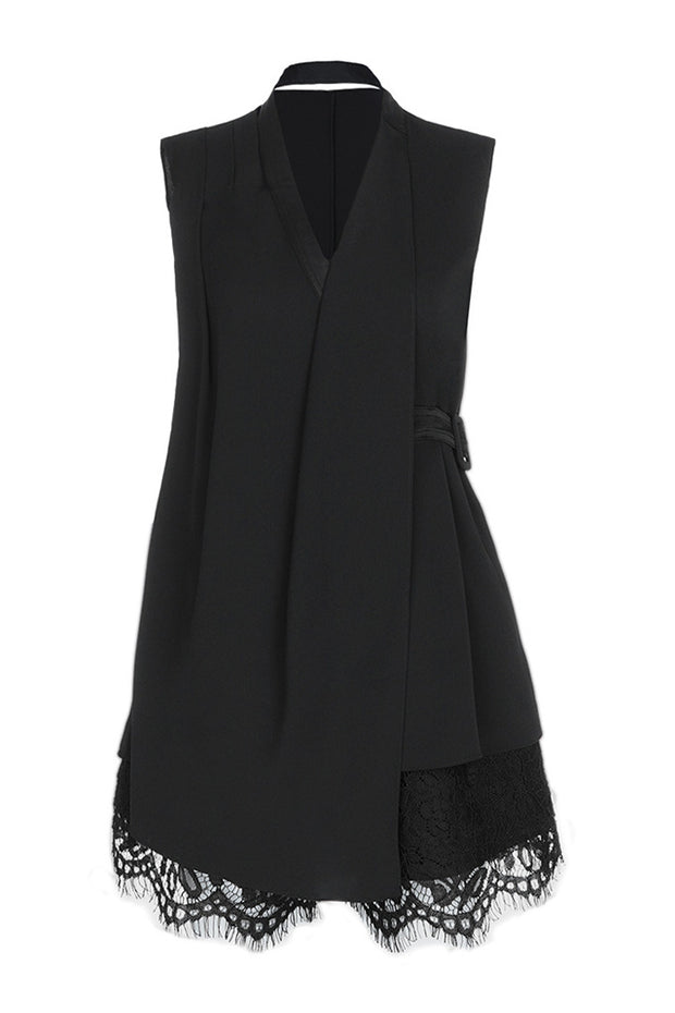 Sleeveless Lace Mini Dress- Black