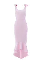 Pink Bow Knot Strap Ruffle Hem Dress