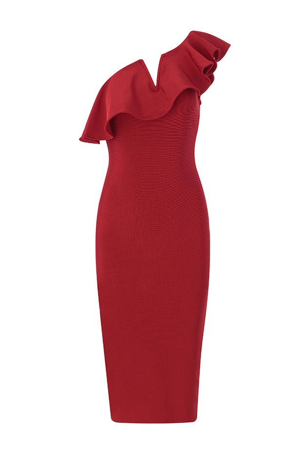 One-Shoulder Ruffled V Neck Midi Dress