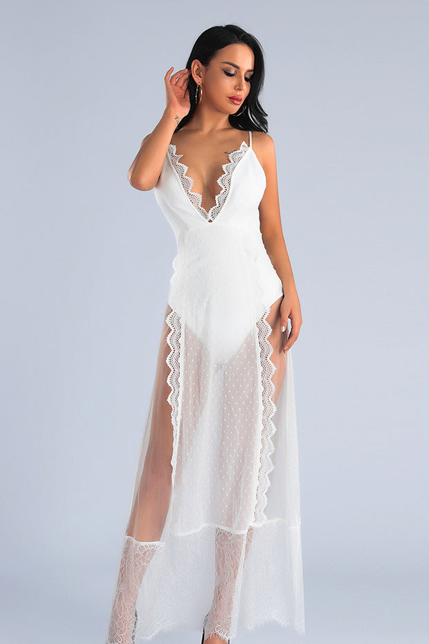 Deep V Neck White Lace Dress