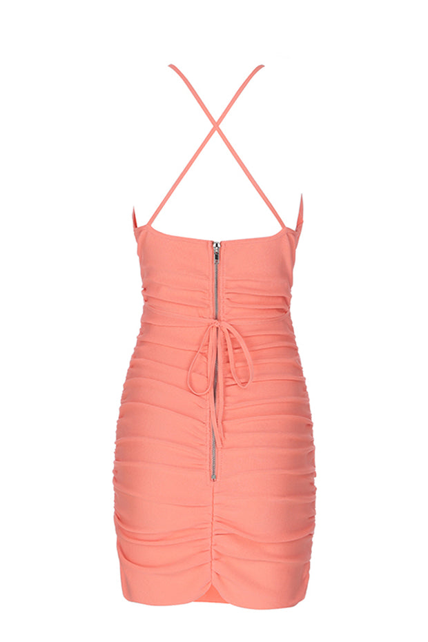 Spaghetti Strap Knot Mini Bodycon Dress
