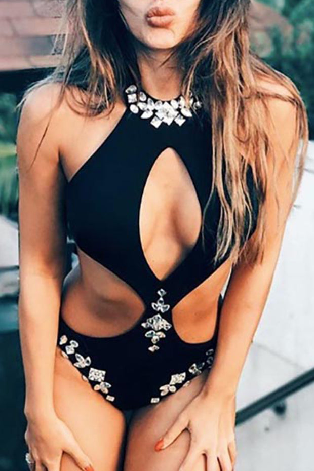 Halter Cut Out Embellished One-Piece Swimsuit