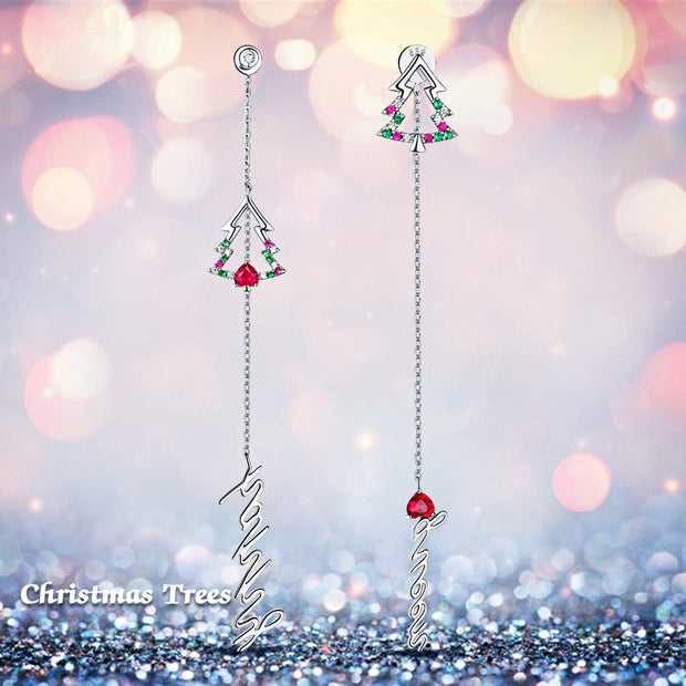 Christmas Tree Letter Tassel Drop Dangle Earrings Sterling Silver