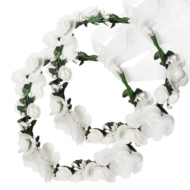 PETW Headband Rattan Vine Wreath Garland Floral Wedding Bridal Hair Hoop Leaf Ribbon Party Decoration Headdress Headwear Christmas Handmade Headpiece Girls Kids Hair Accessories 2 Pack Beige