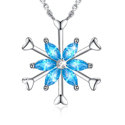 Six-Petal Snowflake Pendant Necklace Sterling Silver