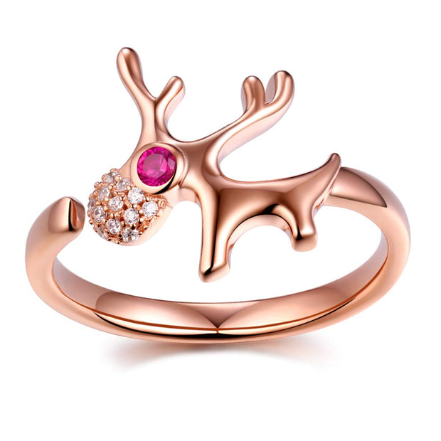 Little Deer Rose Gold Plated Ring Sterling Silver