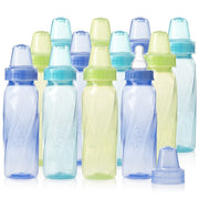 PETW Classic Clear Plastic Standard Neck Bottles for Baby, Infant and Newborn - Teal/Green/Blue, 8 Ounce (Pack of 12)