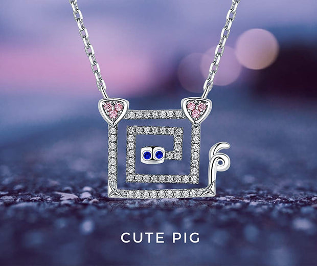 Pig Necklace Sterling Silver CZ