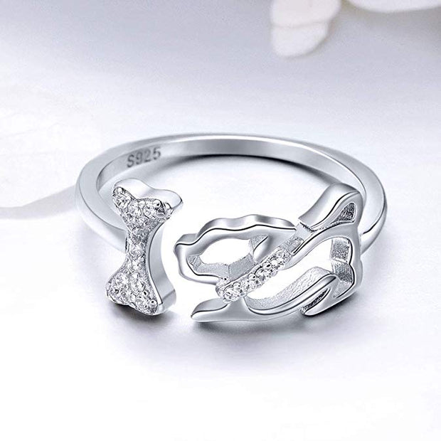 Cute Puppy Ring Sterling Silver