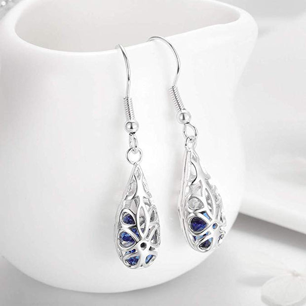 Blue Droplets Drop Earrings, 925 Sterling Silver Ocean Sea Whale's Tail