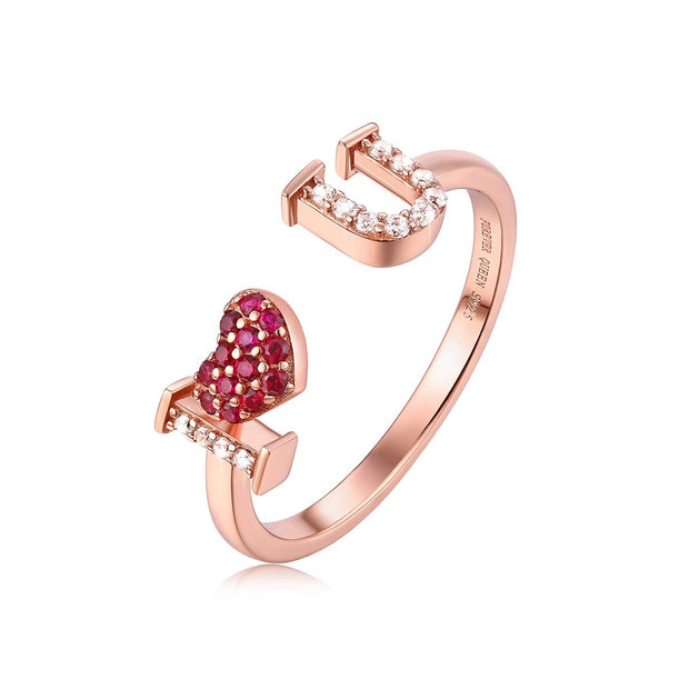 I Love You Rose gold Ring Sterling Silver