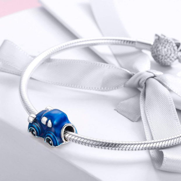 Blue Little Car Charm Sterling Silver
