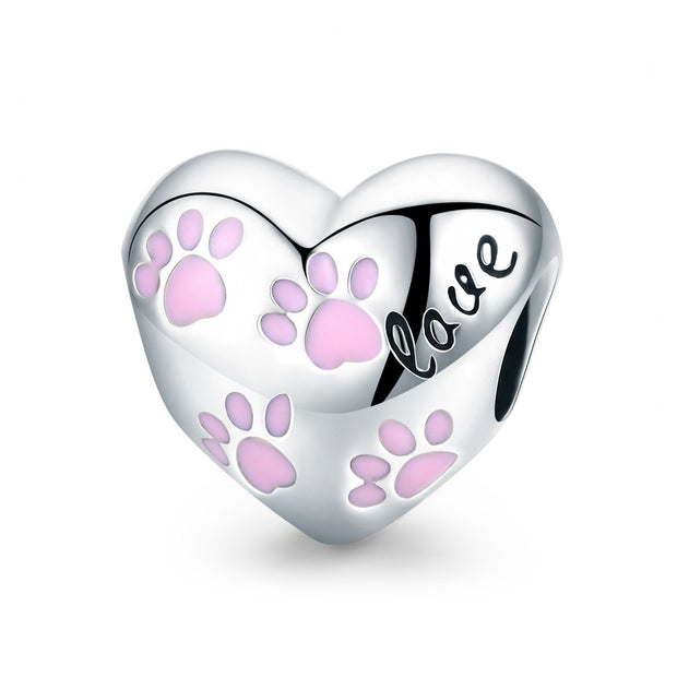 Heart Shape with Puppy Footprints Charm Sterling Silver