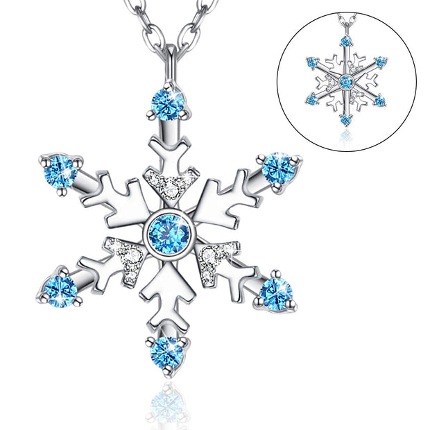 Snowflake Pendant Necklace Sterling Silver