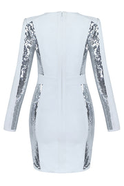Long Sleeved Sequined Lace Up Bodycon Dress-White